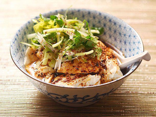 Spicy Warm Silken Tofu with Celery and Cilantro Salad