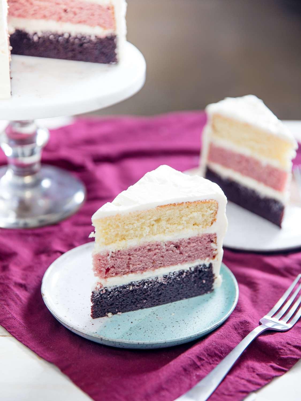 Neapolitan cake slices vertical