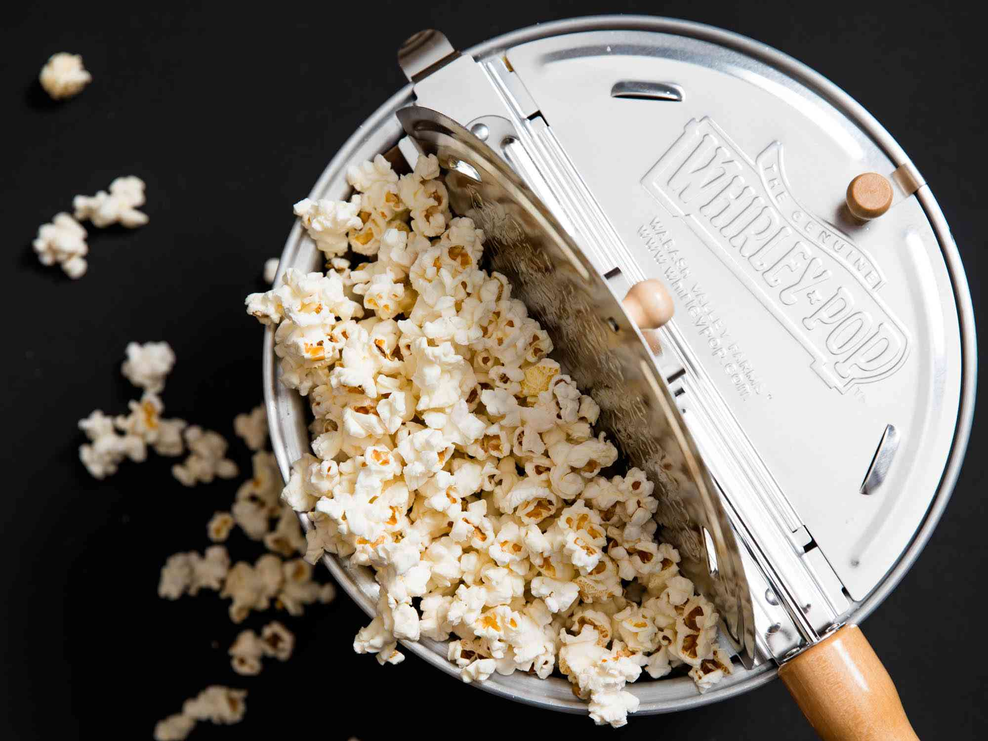Overhead view of a Whirley Pop full of popcorn