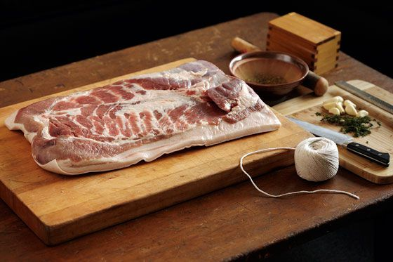 Pork belly slab ready to be turned into porchetta
