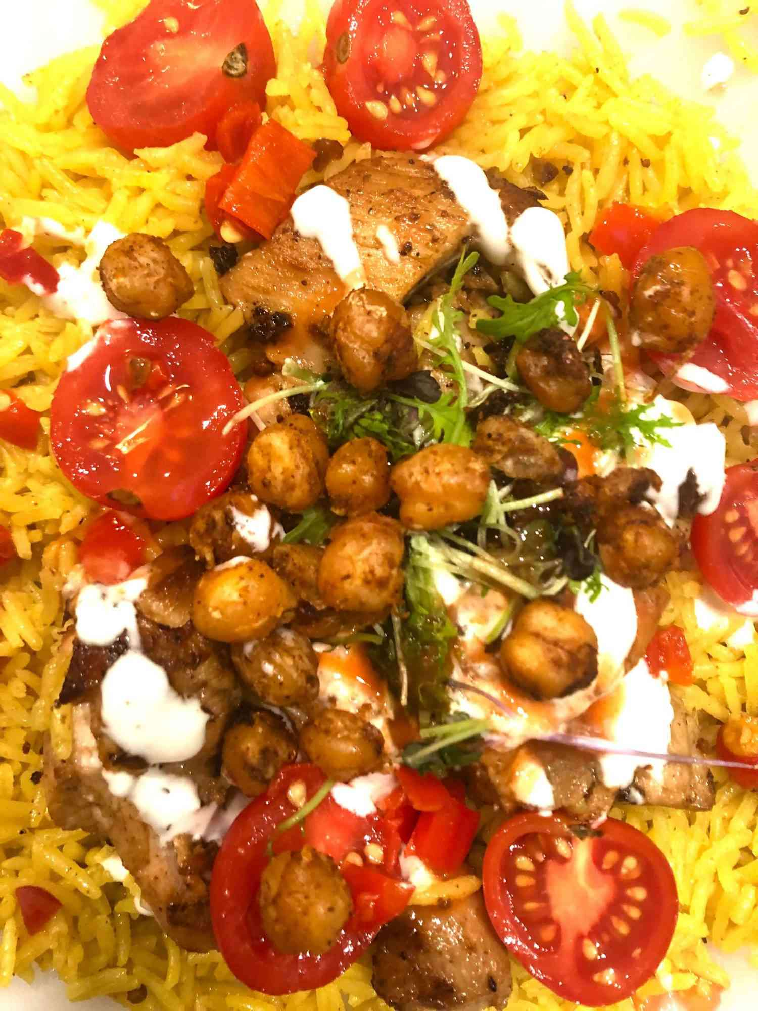 close up of halal cart chicken and rice