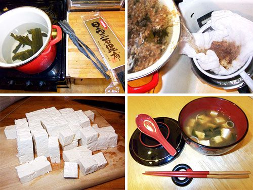 A collage showing the steps to making homemade miso soup.