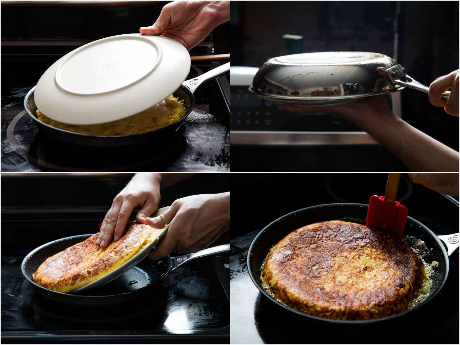 A collage of four images showing how to flip a tortilla española. Cover the tortilla with a plate, quickly flip the pan upside down so the tortilla is on the plate. Return the skillet to the heat and slide the tortilla in. Reshape the edges with a silicone spatula.