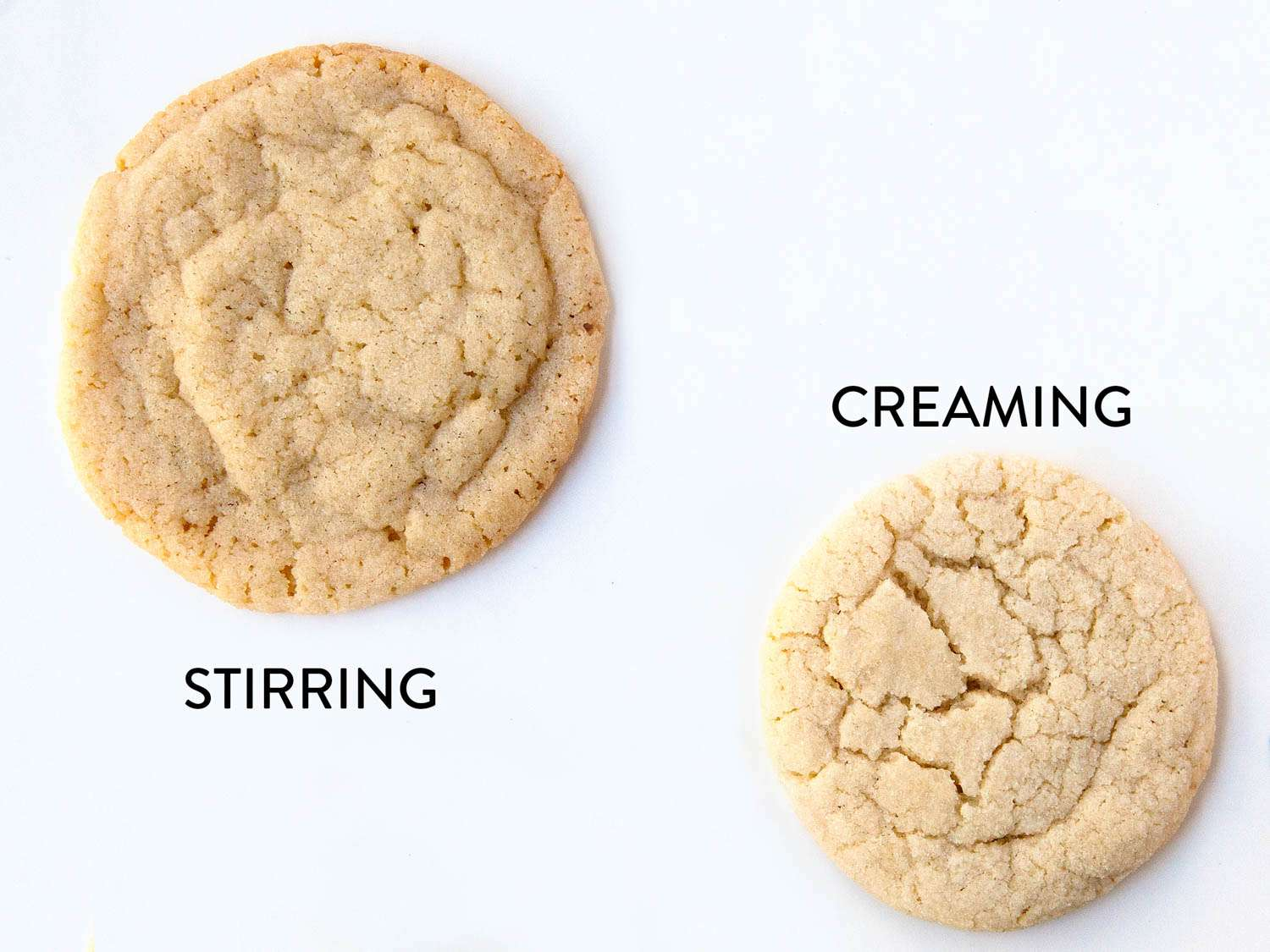 A side by side comparison of two sugar cookies, one with the batter stirred, the other with the batter creamed. The stirred cookie spreads more and the creamed cookie rises better.