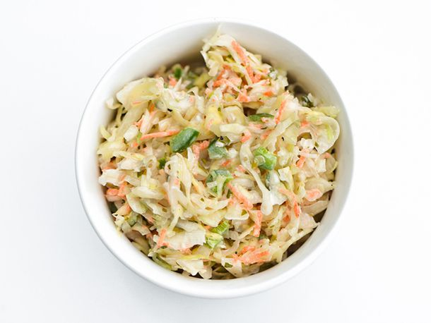 Overhead shot of small white bowl of Jalapeño Coleslaw
