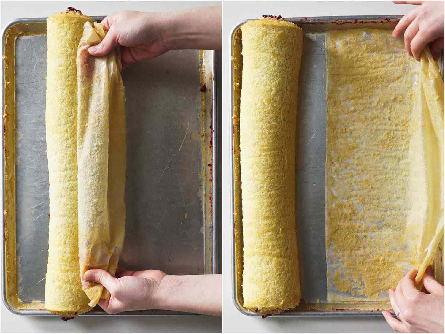 Removing the jelly roll from the parchment by pulling it out from the bottom