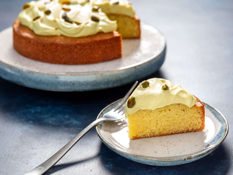 slice of pistachio cake