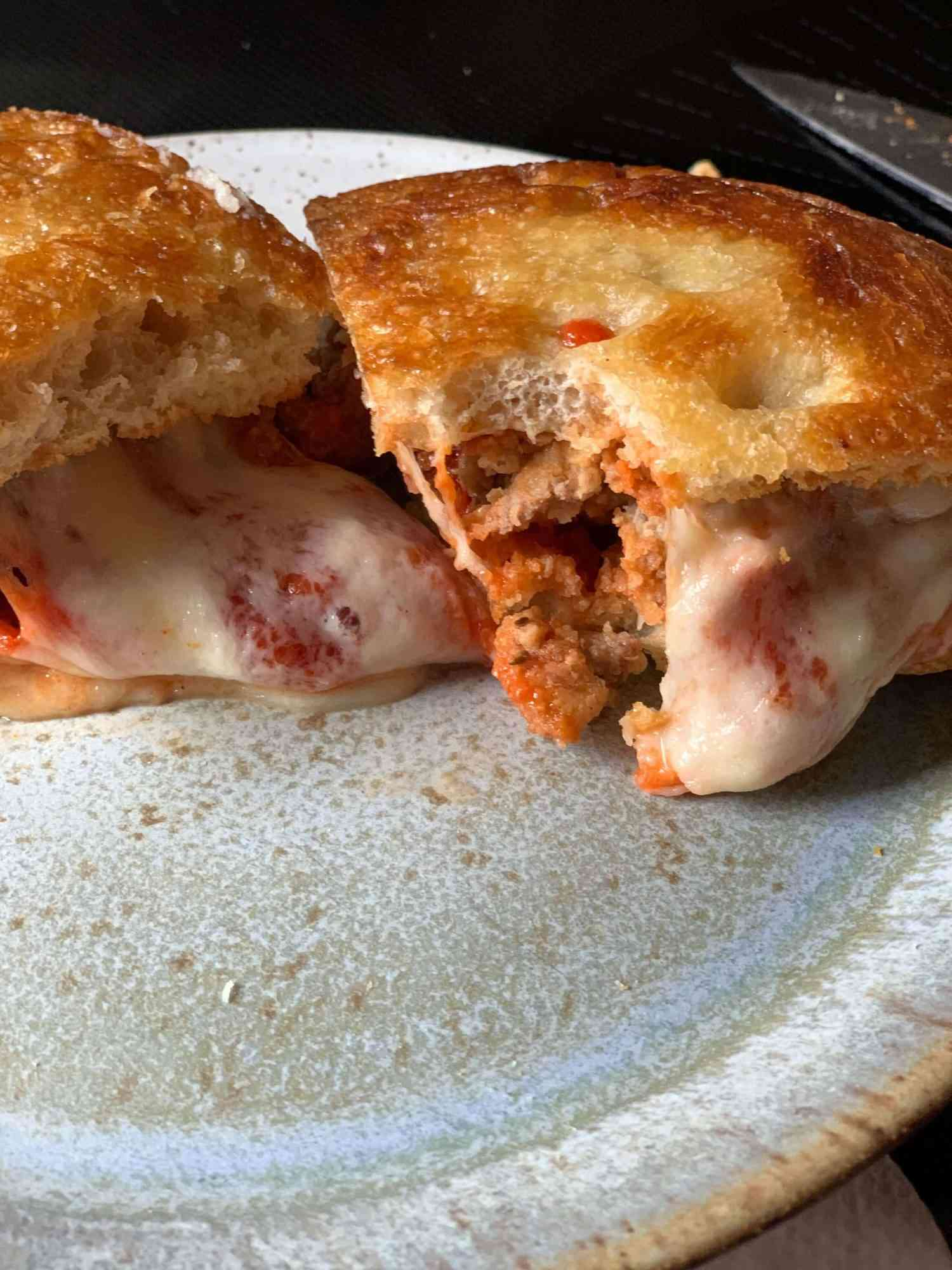 close up of interior of meatball parm