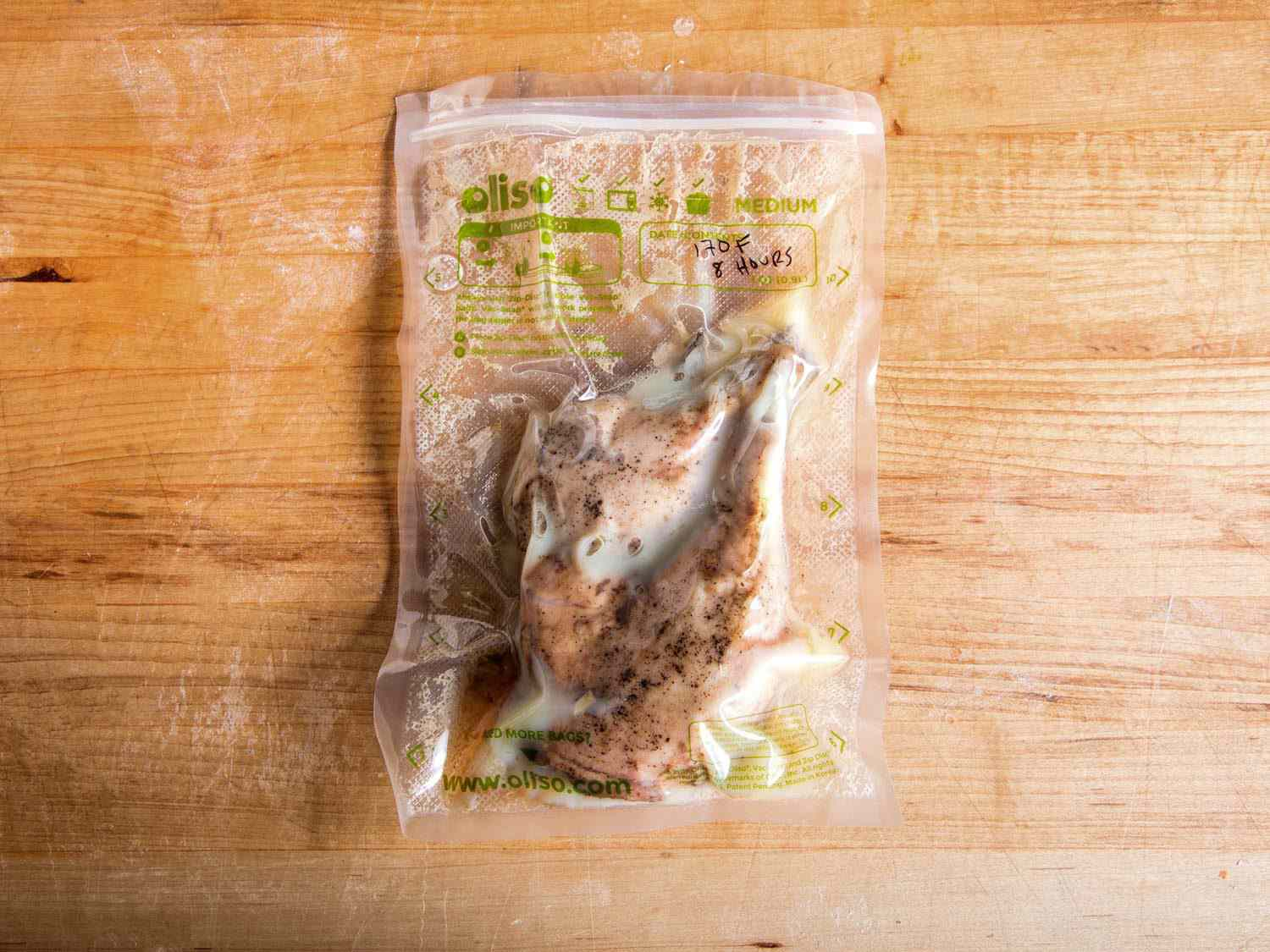 Duck legs sealed in a vacuum bag and cooked sous vide