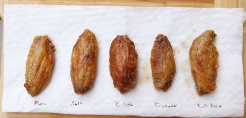 Comparison of baked buffalo wings tossed in salt, baking soda, baking powder, and soda-water solution