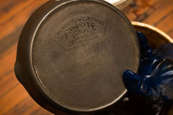 A restored vintage piece of cast iron cookware