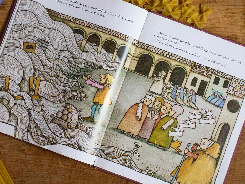 a close of of a page of Strega Nona, a children's book