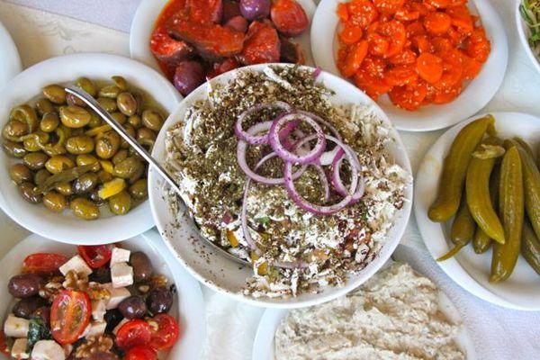 Many Salads, Pickles, Olives from Haj Kahil (Jaffa)