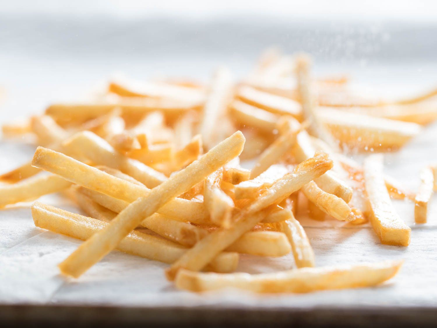 A tray of golden, crispy French fries