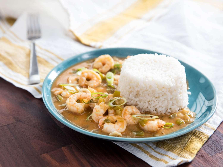 Beauty shot of shrimp etouffee with rice