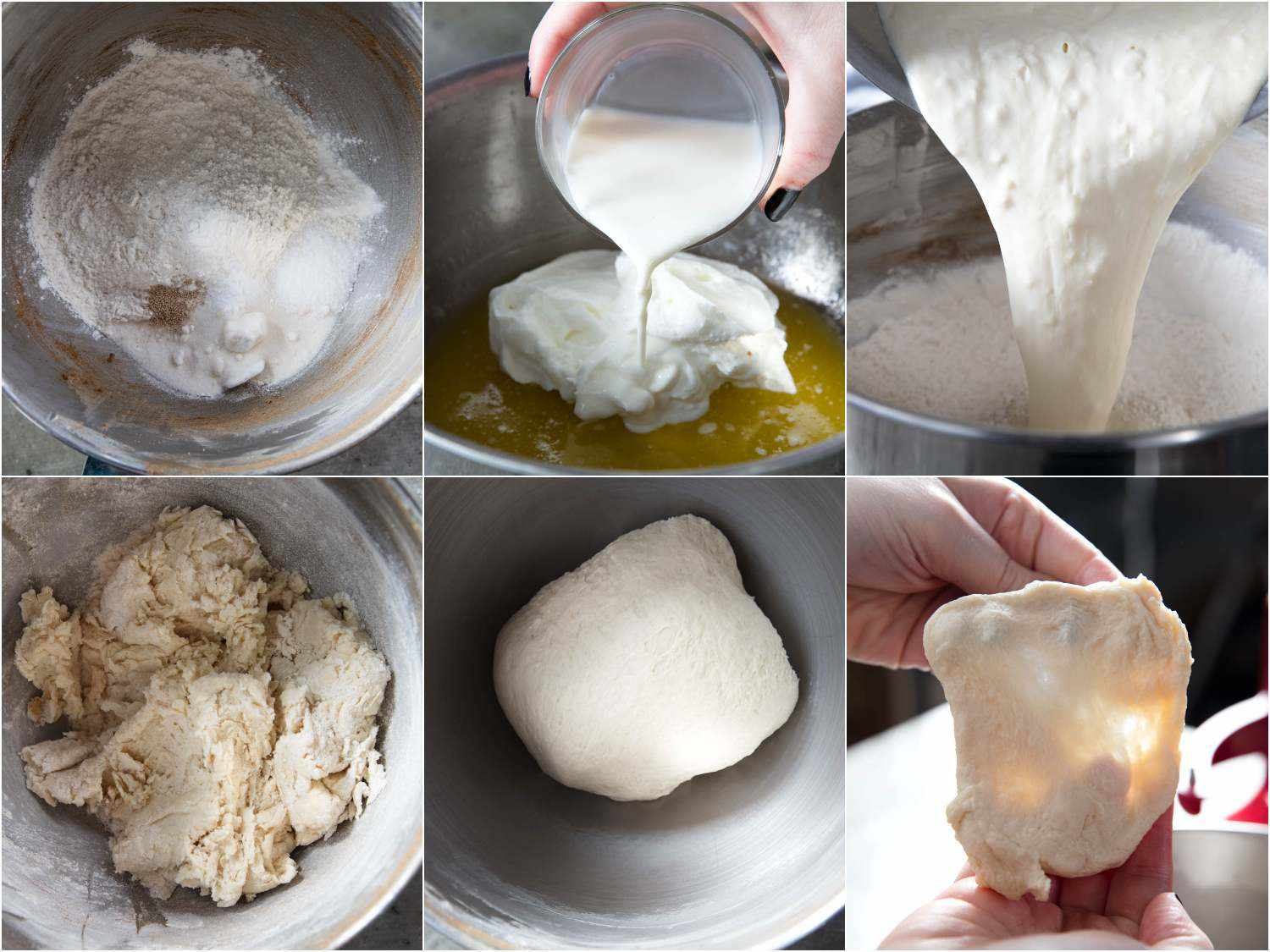 Photo collage showing cinnamon roll dough: combining dry ingredients, heating wet ingredients, then kneading everything in a stand mixer until gluten is well-developed.