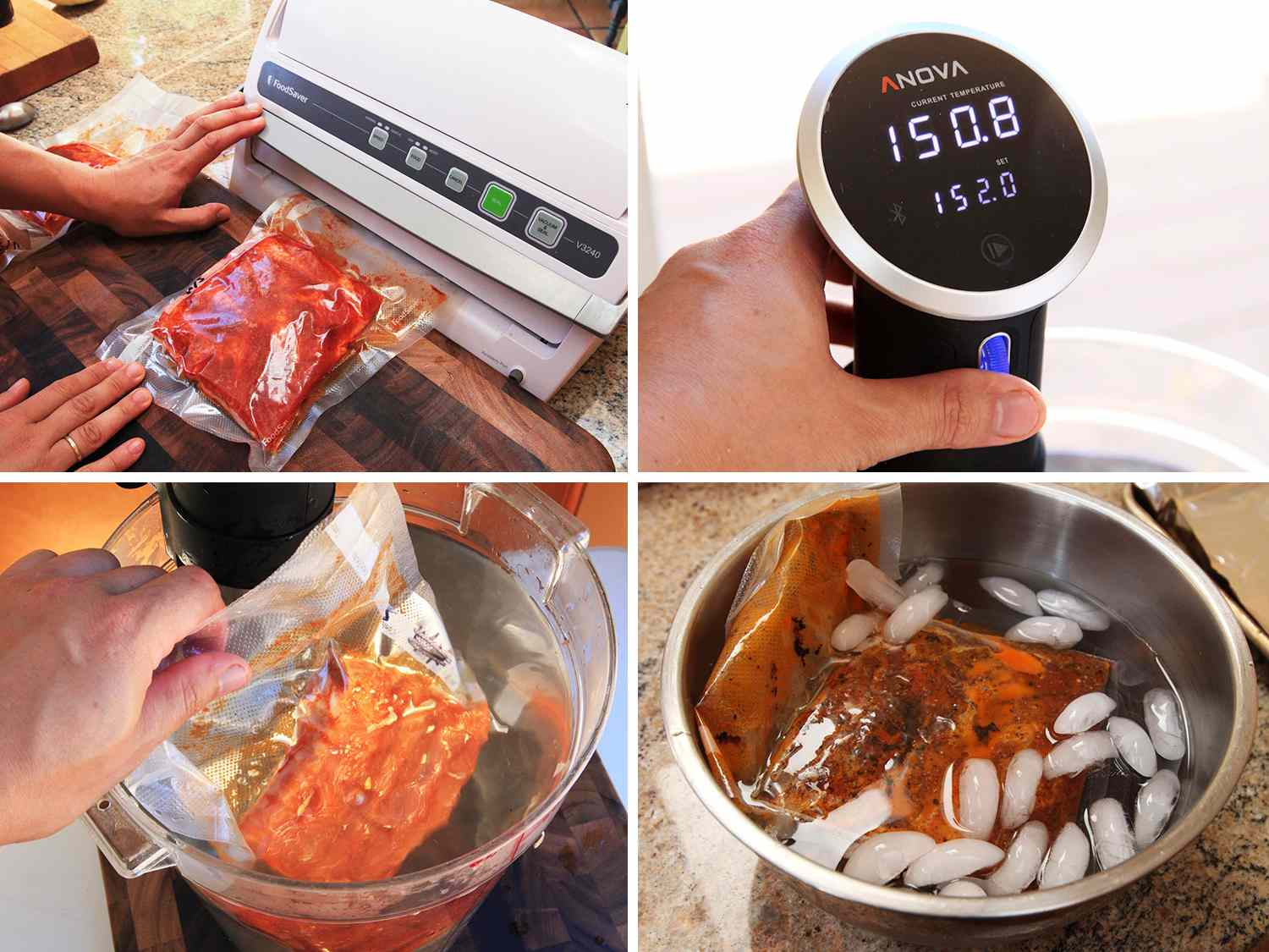 Collage of making sous vide pork ribs: vacuum-sealing pork ribs, setting immersion circulator to desired temperature, lowering bagged meat into water bath, adding bagged meat to ice bath