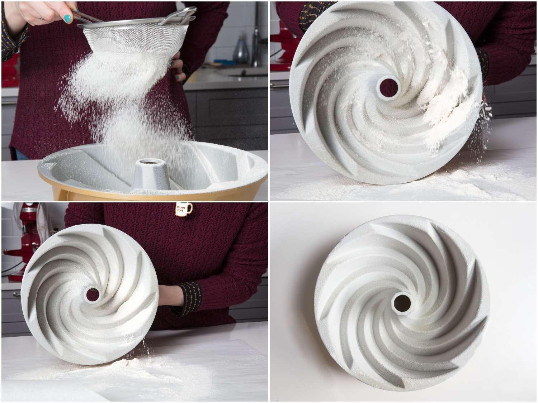 preparing a bundt pan with flour