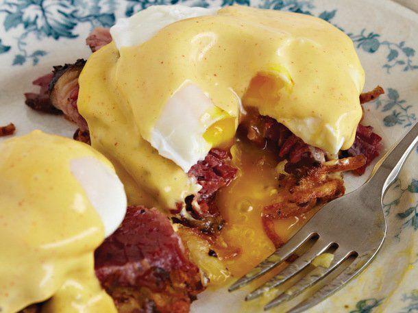 Crispy Potato Latkes and Pastrami Benedict