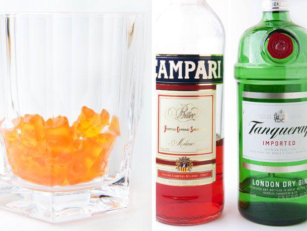 orange gummy bears, Campari, and gin