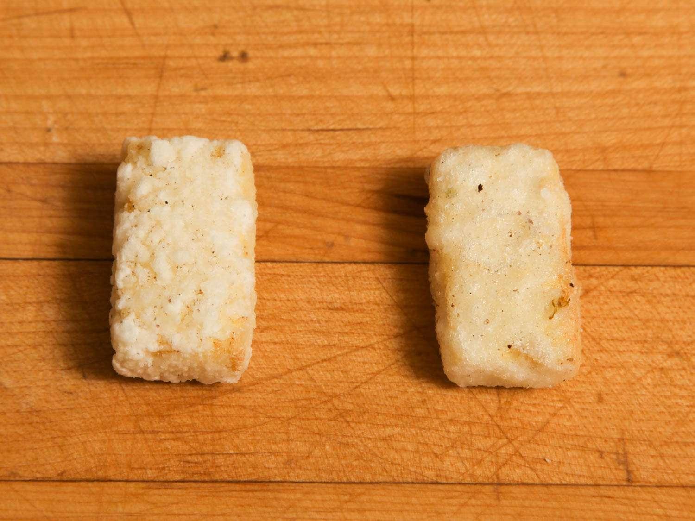 Testing samples of crispy fried tofu.