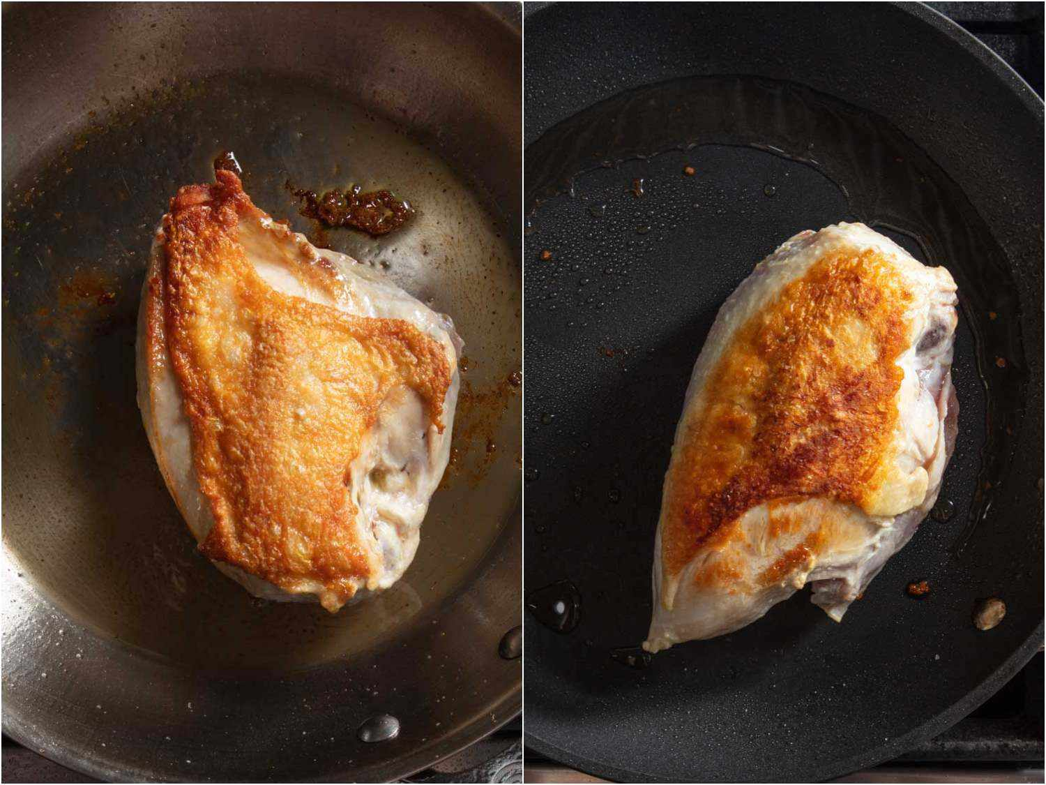 Seen from above, two samples of chicken breast show the difference between stainless steel and nonstick pans: the breast cooked in the stainless skillet is browned from edge-to-edge, whereas the chicken cooked in the nonstick skillet does not have browning that extends to the edges