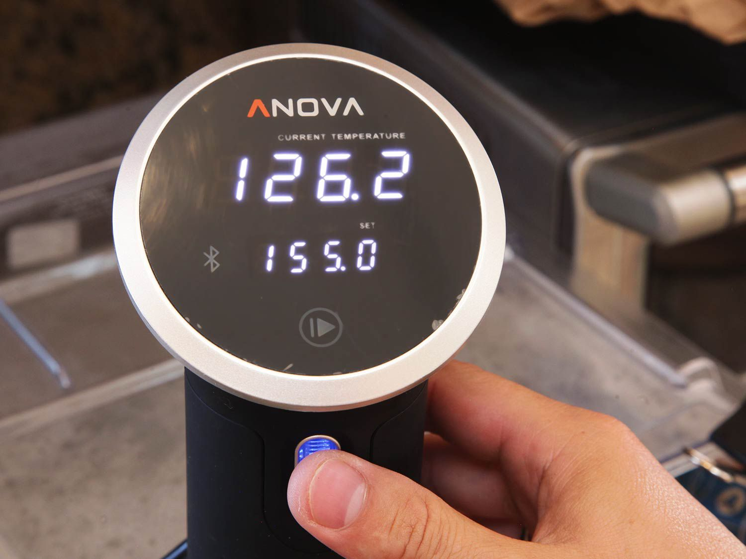 An immersion circulator set to 155°F