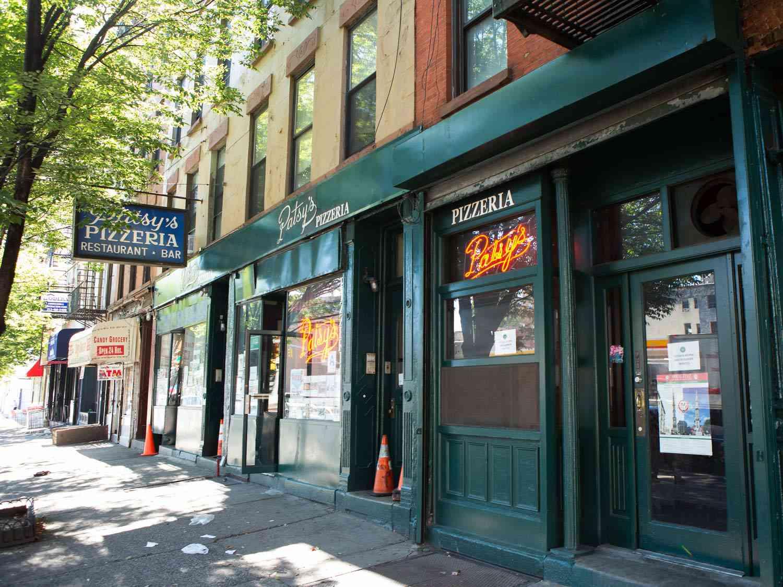 Exterior of Patsy's Pizzeria in Harlem, NY.