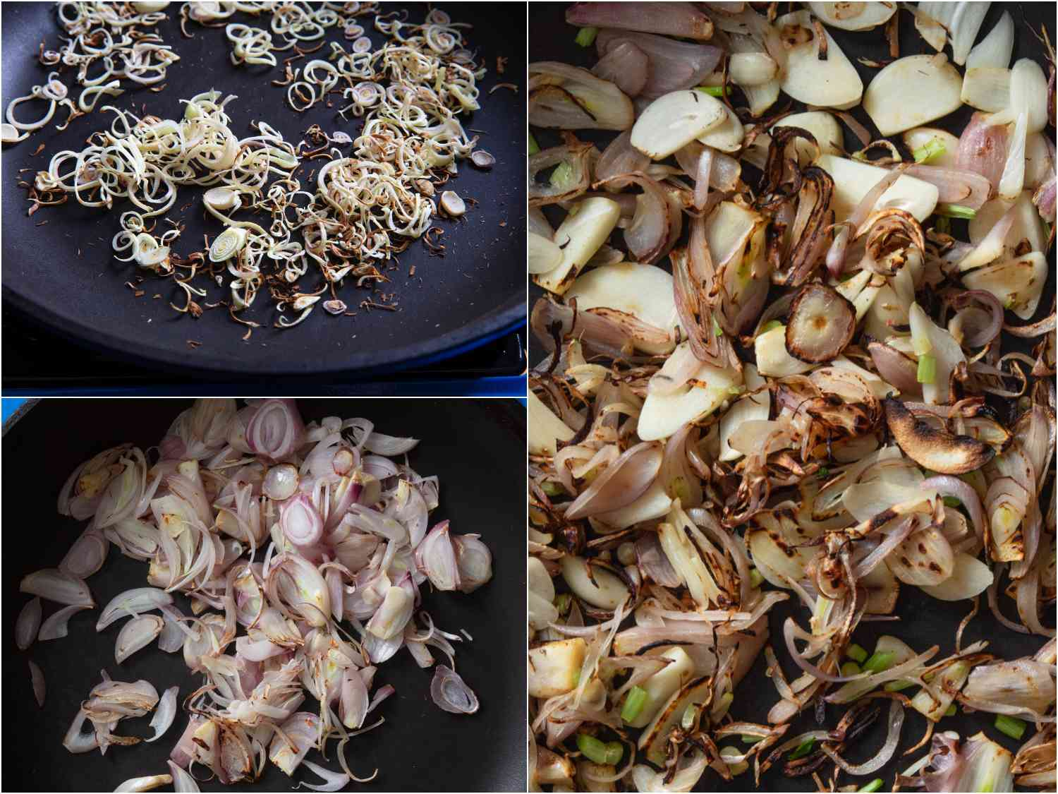 collage: lemongrass charred in skillet; shallots charred in skillet; coriander root and garlic added