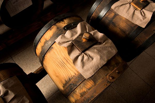 Barrels of aging balsamic vinegar.