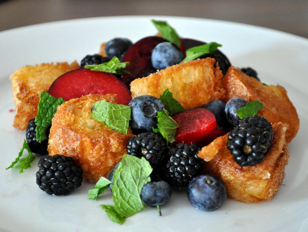 summer fruit panzanella