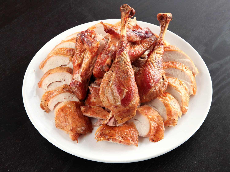 Platter of carved roast turkey
