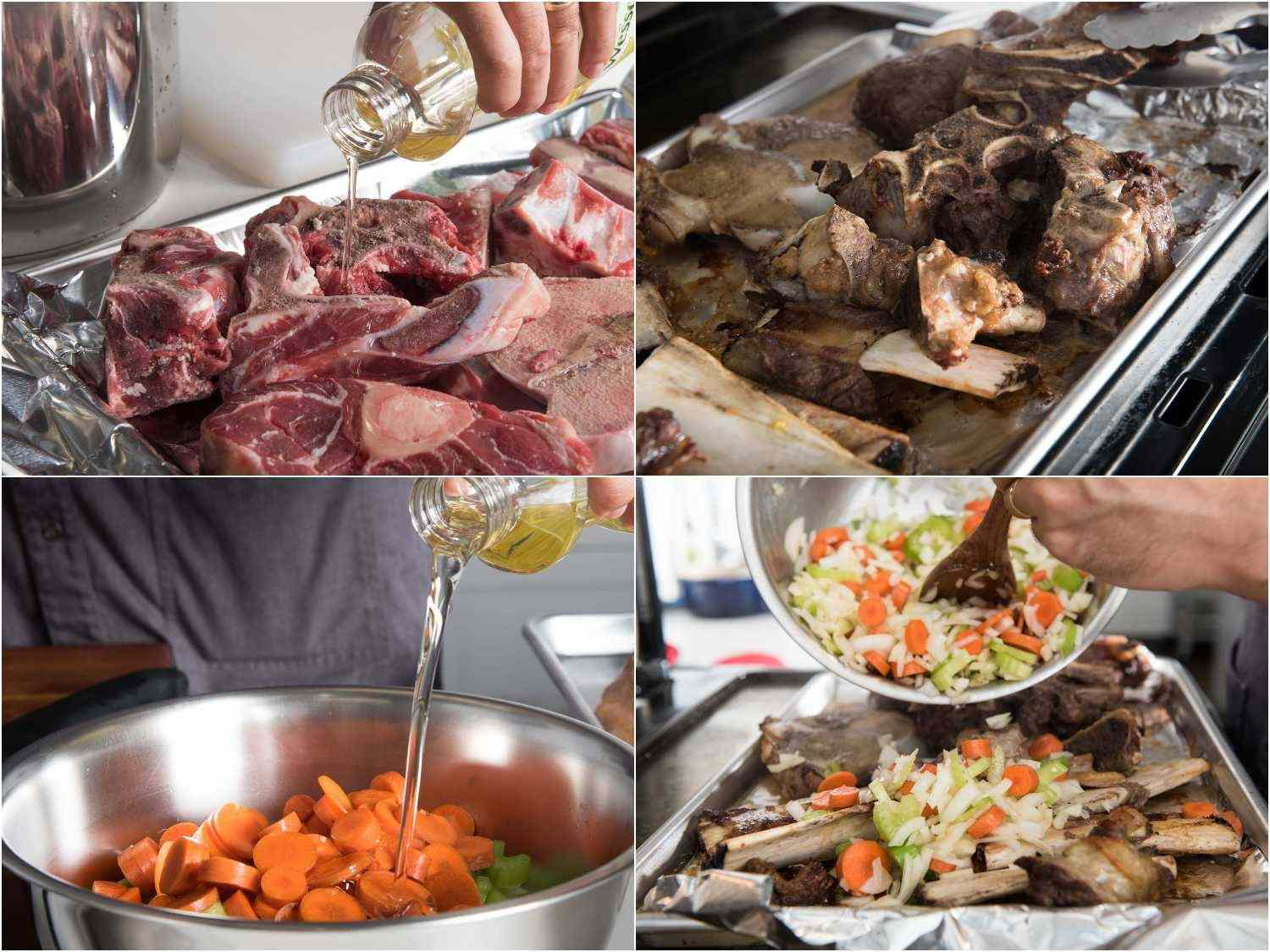 Roasting beef bones and aromatic vegetables (mirepoix) for beef stock