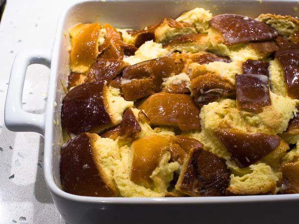 add bread and custard mixture to baking dish