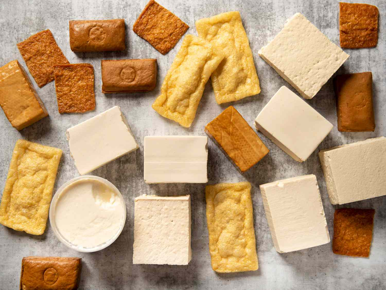 a mixture of tofu types