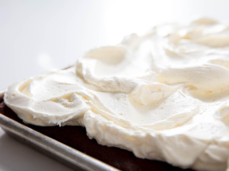 German buttercream on a Texas sheet cake