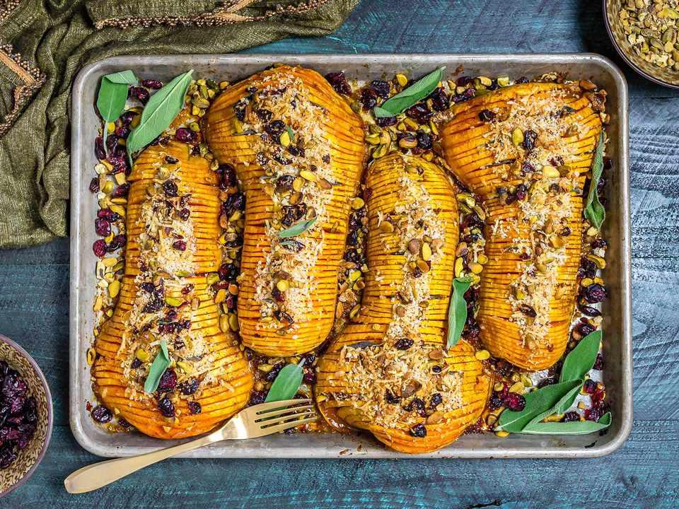 20181112-glazed-hasselback-butternut-squash-with-parmesan-breadcrumbs-overhead-morgan-eisenberg