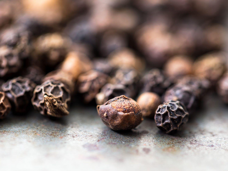 Close up of Tellicherry peppercorns