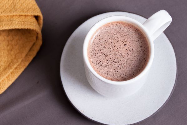 A cup of drinking chocolate.