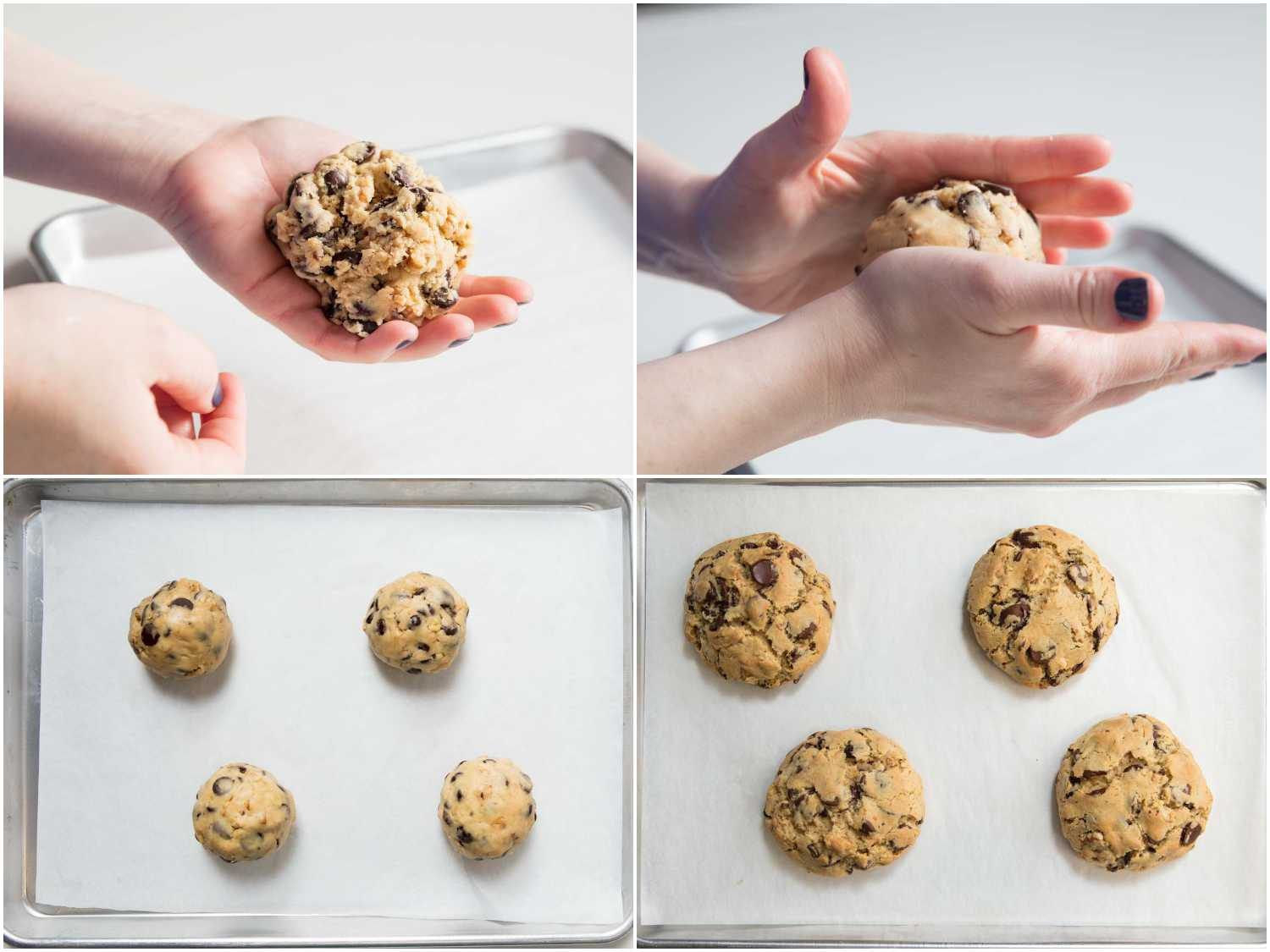 rolling, portioning, and baking the cookie dough