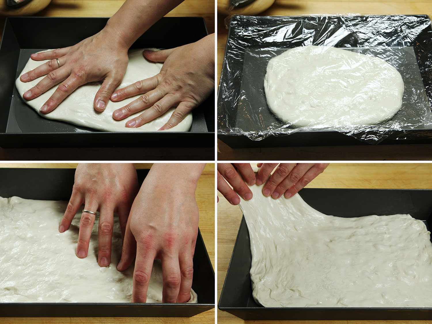 Collage of stretching Detroit-style pizza dough into pan
