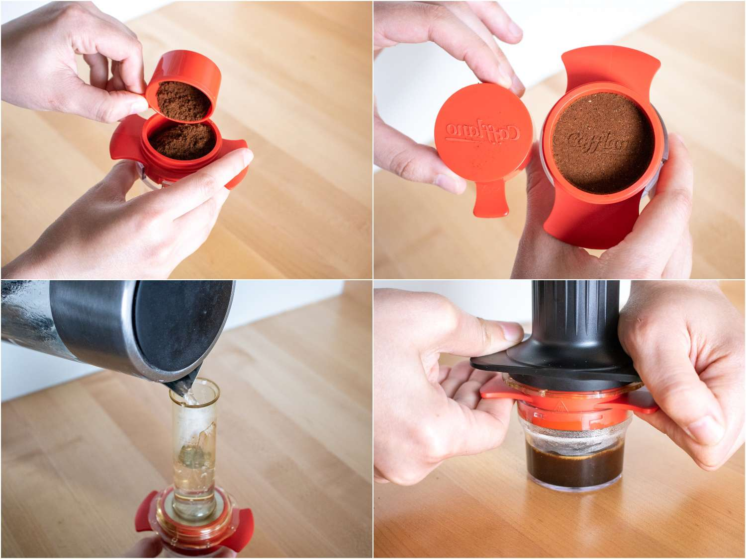 collage of using a Cafflano Kompresso hand-powered espresso machine: using the dosing spoon; tamping; filling with water; pressing down with force to extract the shot