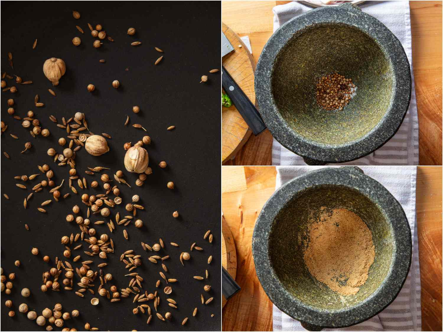 collage: toasting spices; toasted spices in mortar; pounded spices in mortar