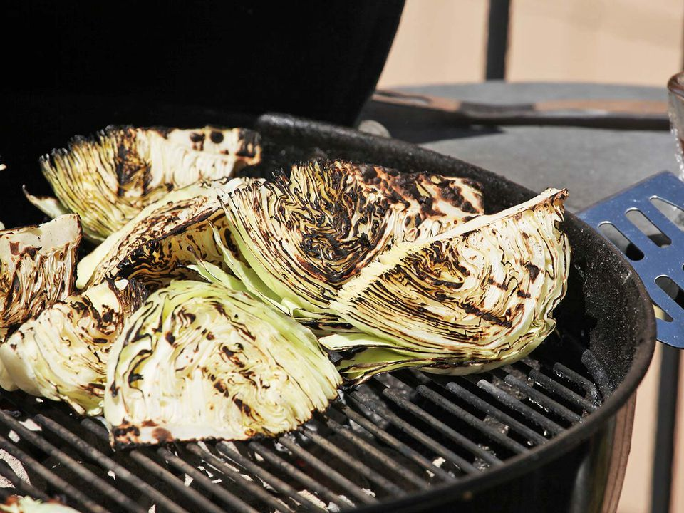 grilled cabbage and blue cheese dressing