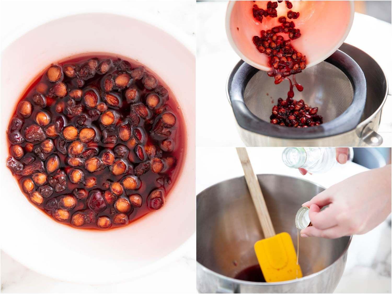 straining cherry pit syrup through a fine mesh sieve
