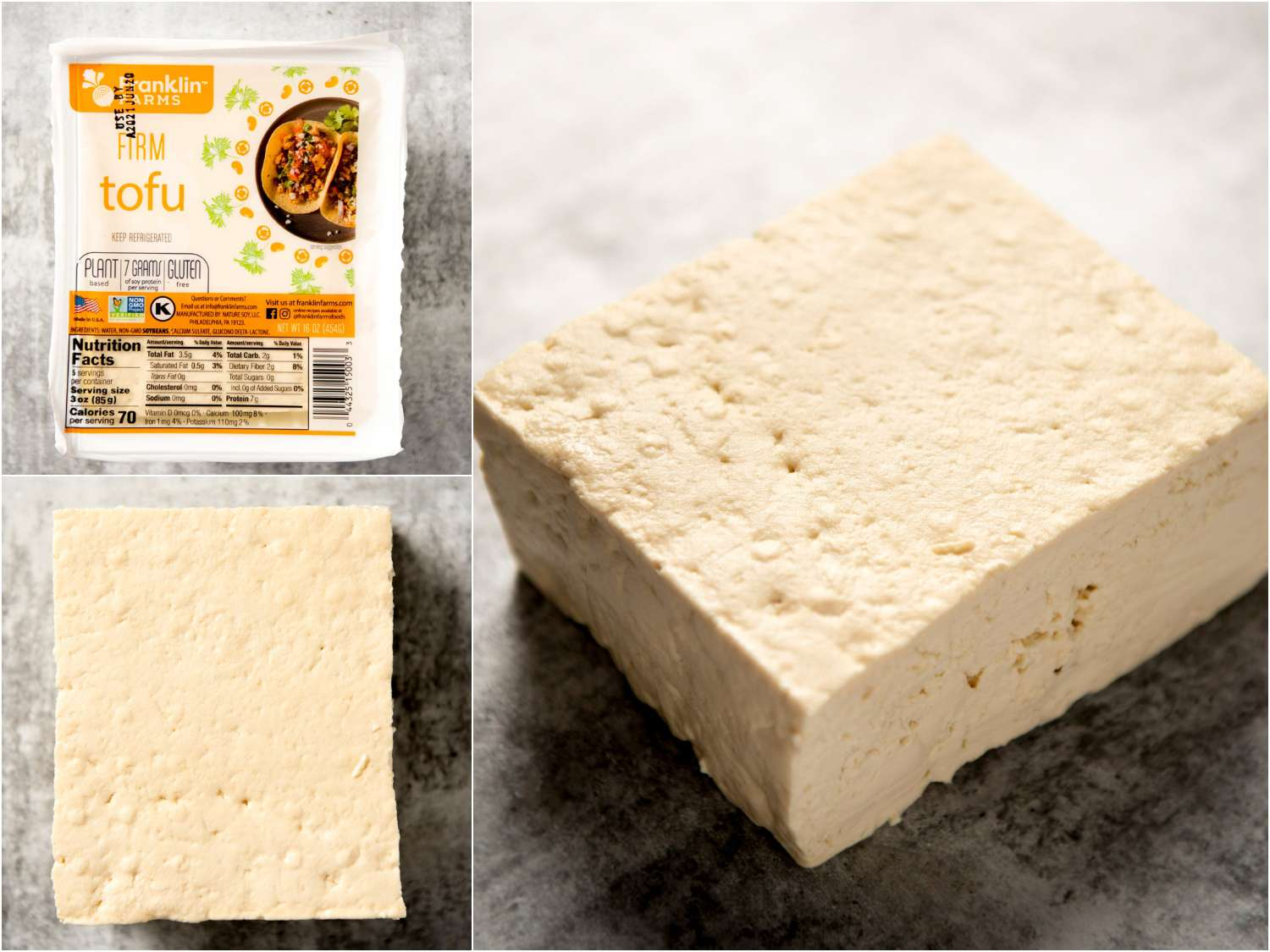 collage: firm block tofu in packaging; unpackaged; side angle