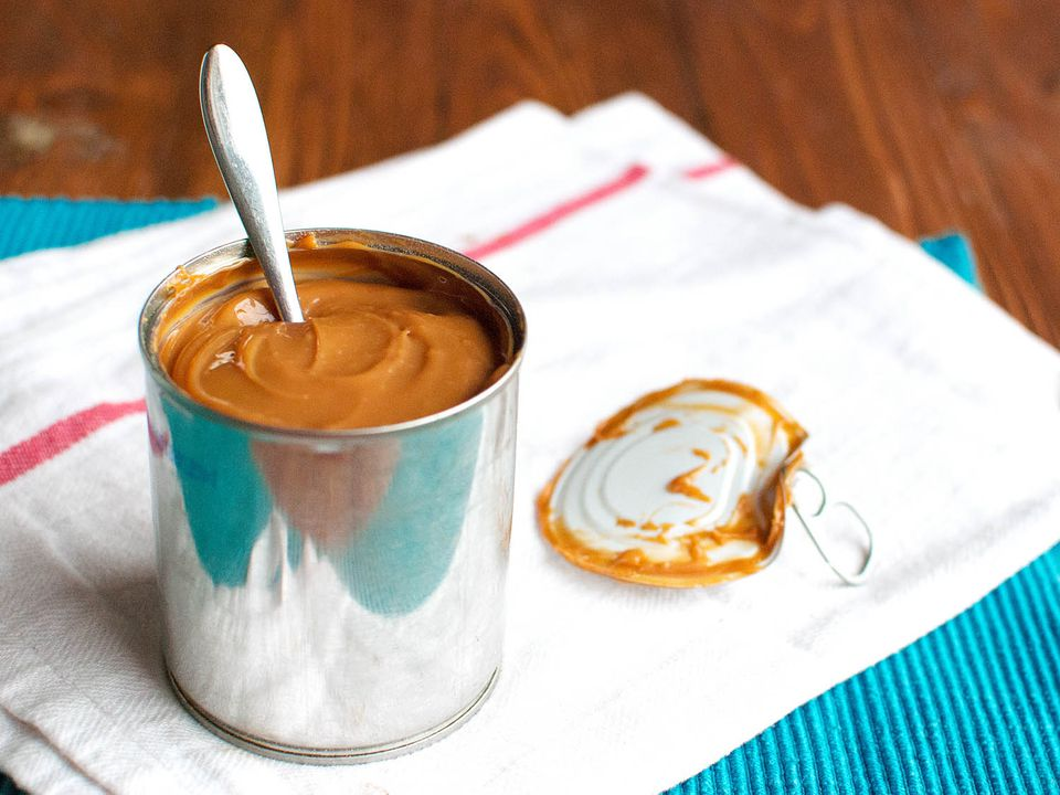 Homemade dulce de leche made in a can