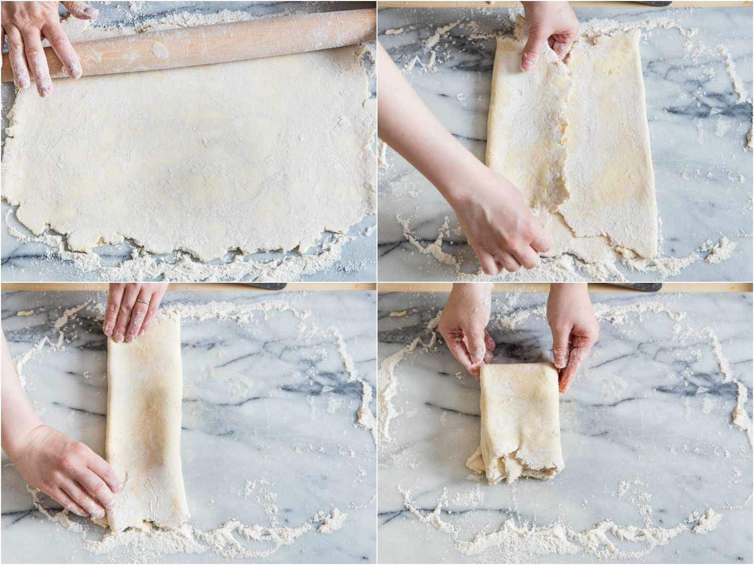 Collage of rolling out and folding pie dough: dough rolled into a large rectangle, folding long sides in twice, folding short sides in