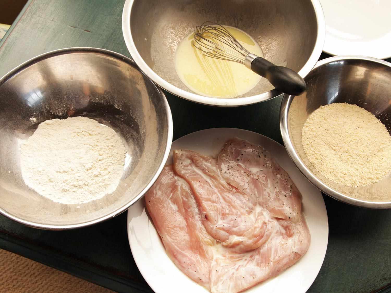 Breading set-up for chicken parmesan