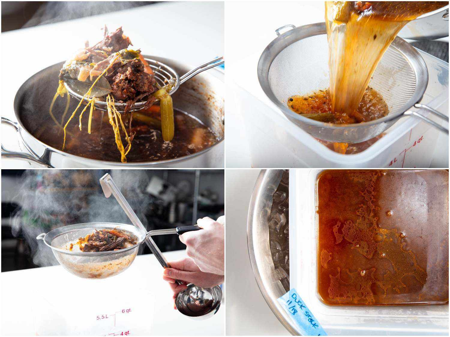 Photo collage of straining and cooling duck stock.